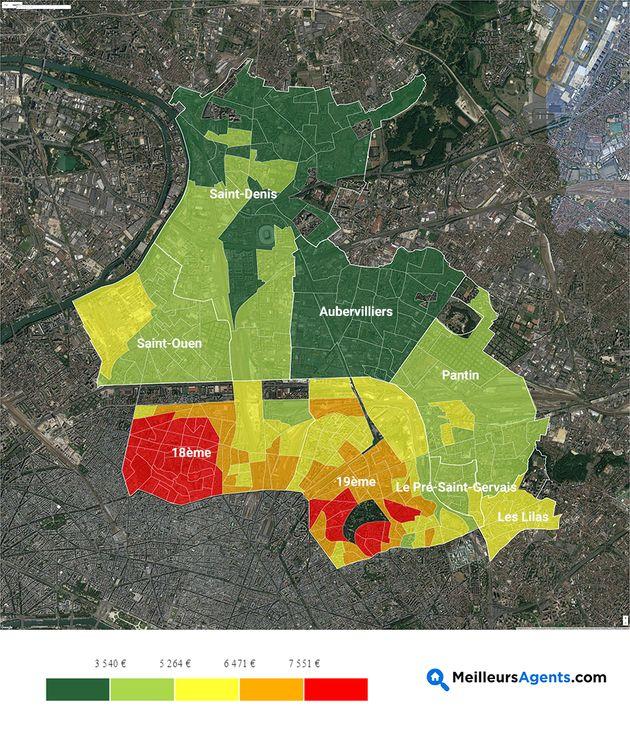 La carte des prix de l'immobilier (et leur évolution) dans le Nord de Paris et sa