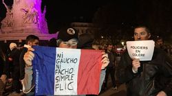 À Paris, les policiers manifestent devant le Bataclan et le Petit
