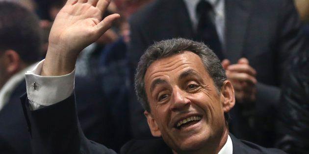 Nicolas Sarkozy lors d'un meeting de campagne à Nice le 15 novembre