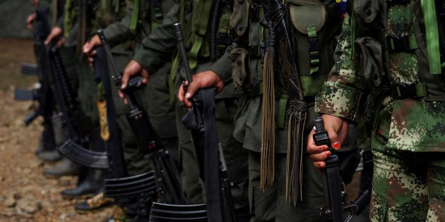 Des membres des Farc au camp de Las Robles en Colombie le 25 janvier