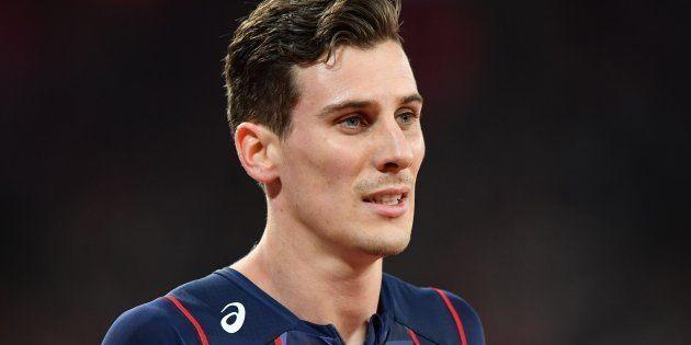 Pierre-Ambroise Bosse après sa victoire aux championnats du monde d'athlétisme le 8 août à