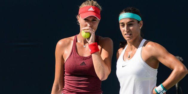 Kristina Mladenovic et Carolina Garcia dle 29 juillet 2016 à Montreal. Minas Panagiotakis/Getty