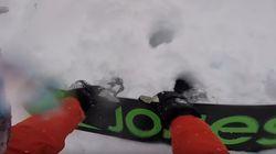 Les images impressionnantes de ce snowboarder pris dans une avalanche et déterré par ses