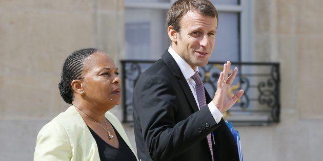 Christiane Taubira et Emmanuel Macron quand ils étaient collègues au