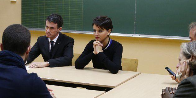 Le Premier ministre Manuel Valls et la ministre de l'Education Nationale Najat Vallaud-Belkacem dans...