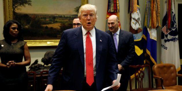 Donald Trump à la Maison Blanche à Washington le 22 février