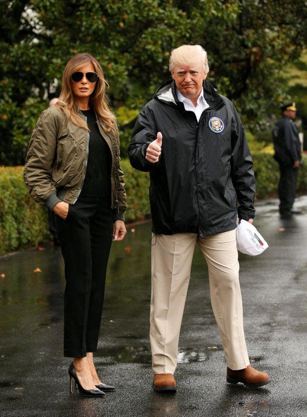 Le couple présidentiel américain lors de sa première visite au Texas, après l'ouragan
