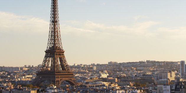 Elevated view overlooking Paris with Eiffel Tower from 'Arc De