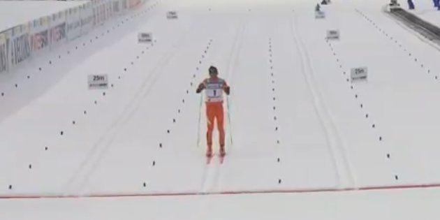 Le skieur de fond Adrian Solano lors des championnats du monde de ski nordique à Lahti en