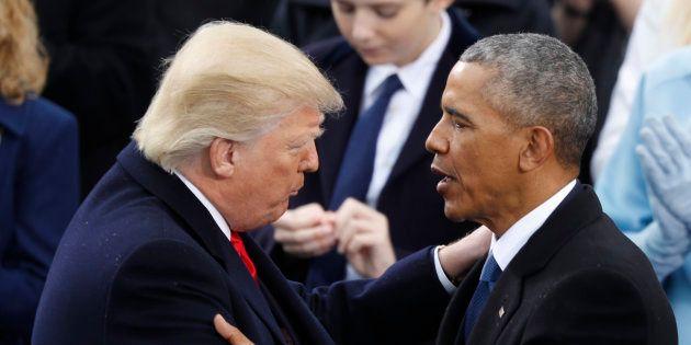 Barack Obama et Donald Trump, le 20 janvier 2017 à