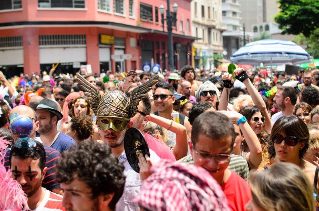 Sao Paulo, Brazil - February 6, 2016: Revellers participate in the Tarado ni voce street block.