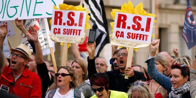 Une manifestation contre le RSI, en septembre