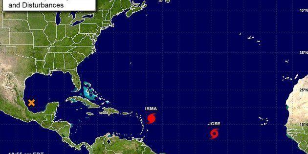 La tempête tropicale Jose suit de près l'ouragan Irma, qui frappe les Antilles ce
