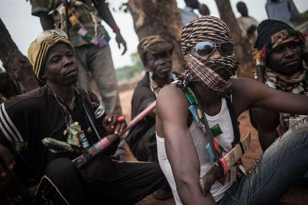 Des membres d'une milice anti-balaka, le 31 juillet