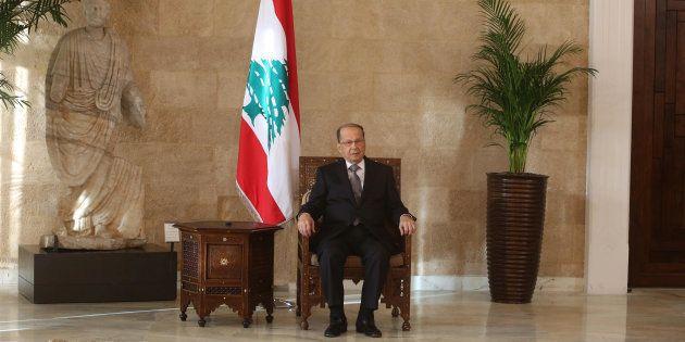 Michel Aoun dans le palais présidentiel près de Beyrouth le 31 octobre