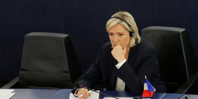 Marine Le Pen, pendant un débat au Parlement européen, au mois de