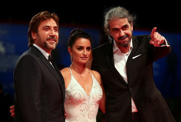 Actors Penelope Cruz, Javier Bardem and director Fernando Leon de Aranoa pose during a red carpet event...