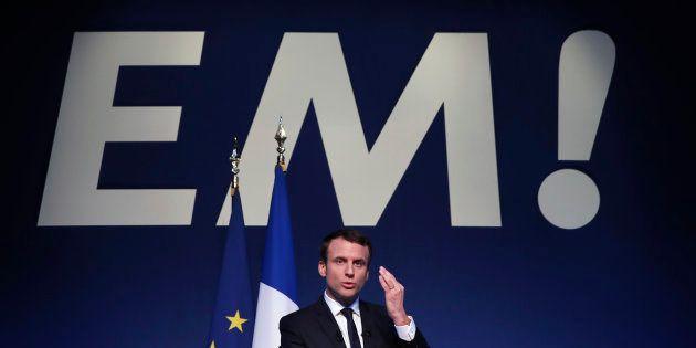 Emmanuel Macron lors de la présentation de son programme ce