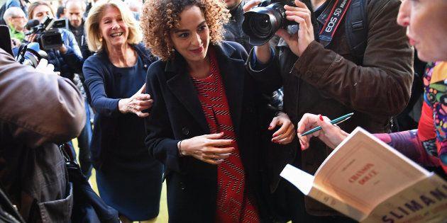 L'auteure franco-marocaine Leïla Slimani arrive au restaurant Drouant à Paris pour rencontrer la presse...