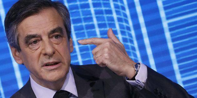 Le candidat LR à la présidentielle François Fillon lors d'un discours à l'occasion du