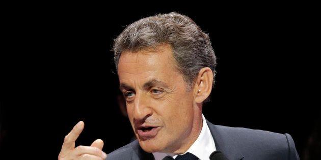 Nicolas Sarkozy, en meeting à Paris le 9