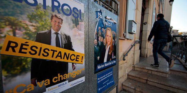 Les affiches de campagne de Christian Estrosi (LR), maire de Nice, et de Marion Maréchal Le Pen (FN),...