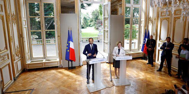 Le Premier ministre Edouard Philippe et la Ministre du travail Muriel Penicaud présentent les ordonnances...
