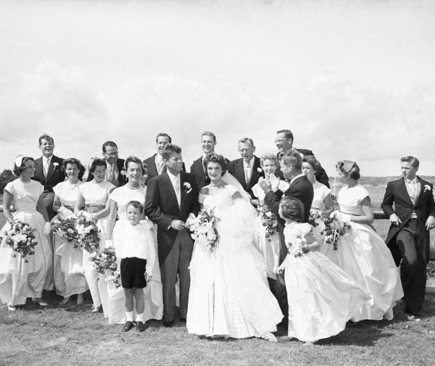 John Kennedy, Jacqueline Kennedy, and their wedding party at Hammersmith Farm in Newport after the wedding....