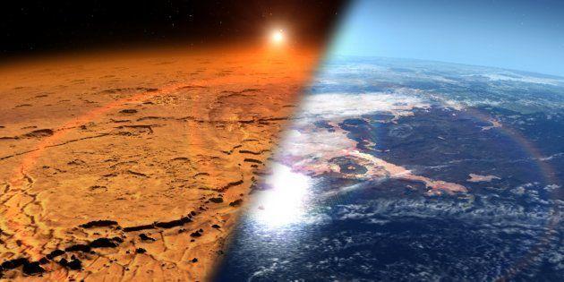 Une vue d'artiste comparant la Mars actuelle et l'état de la planète il y a des milliards d'années, quand...