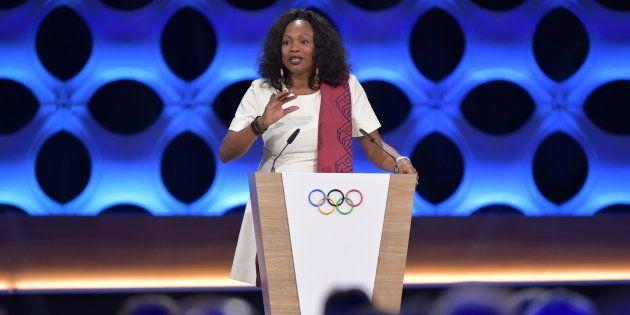 Laura Flessel lors de l'annonce à Lima des JO