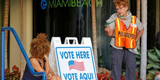 Un bureau de vote de Miami Beach, lors de l'élection présidentielle américaine de ce 8 novembre 2016....