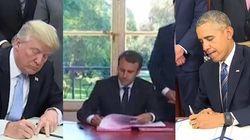 La mise en scène de Macron signant des lois rappelle franchement les pratiques