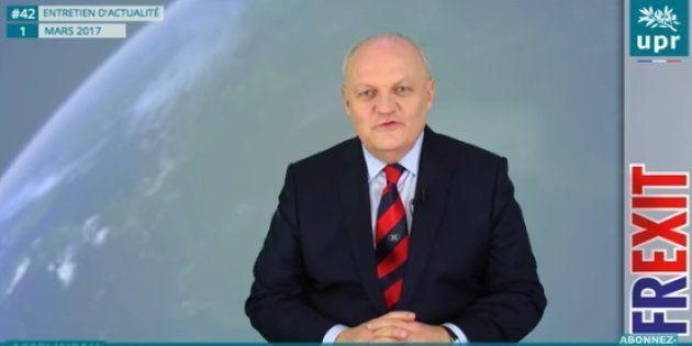 Capture d'écran d'une vidéo de François Asselineau diffusée le 1er mars