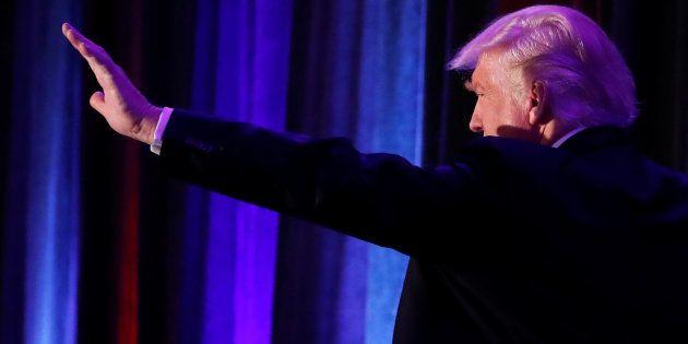Donald Trump à New York lors de son discours de victoire après l'annonce des résultats des élections...