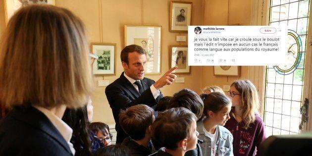 Emmanuel Macron au Château de Monte-Cristo au Port-Marly le 16 septembre, à l'occasion des Journées du