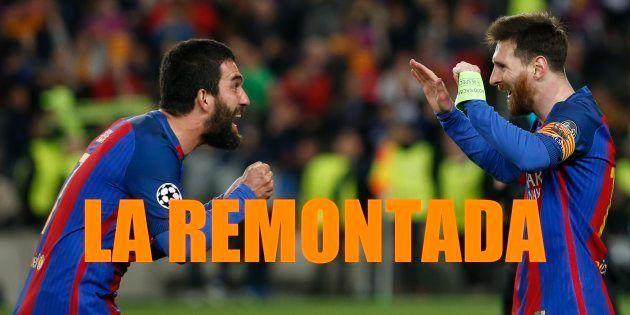 Lionel Messi et Arda Turan à la fin du match FC Barcelona vs Paris Saint-Germain le 8 mars