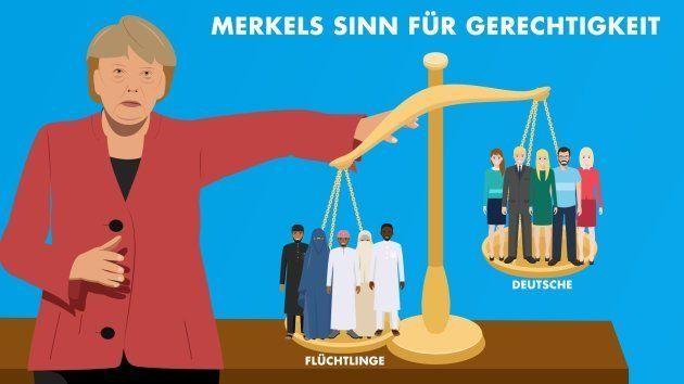 Le sens de la droiture de Merkel. Réfugiés (à gauche) / Allemands (à