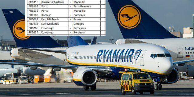La liste des 110 vols français annulés par