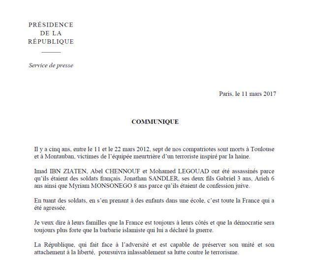 Le communiqué de François Hollande, en hommage aux victimes de