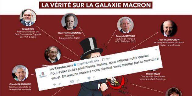 Caricature d'Emmanuel Macron diffusée vendredi 10 mars par Les
