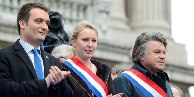 Florian Philippot, Marion Maréchal-Le Pen et Gilbert Collard le 1er mai 2013 à