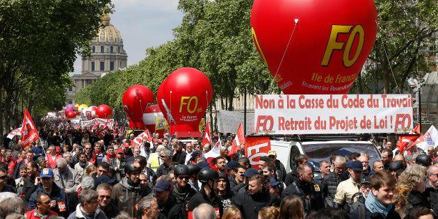 Des adhérents de Force Ouvrière manifestant aux côtés de la CGT en septembre