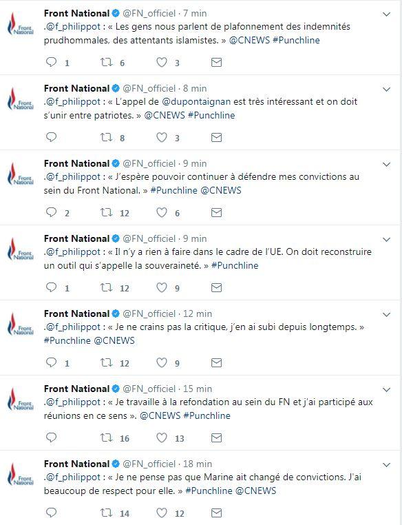 Le compte du FN a live-tweeté le grand déballage de Florian Philippot, enfin