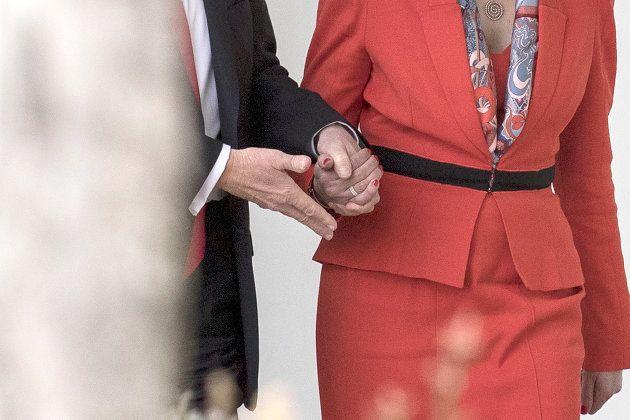Theresa May et Donald Trump autour de la Maison Blanche le 27