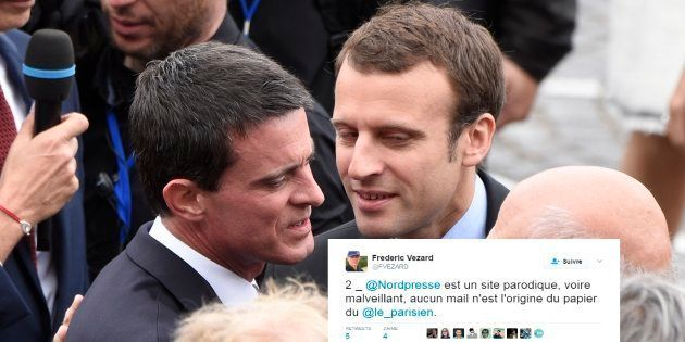 Emmanuel Macron et Manuel Valls sur les Champs-Elysées en juillet
