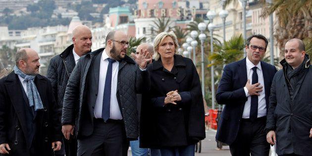 Marine Le Pen à l'occasion d'un déplacement à Nice en compagnie de l'ancien identitaire Philippe