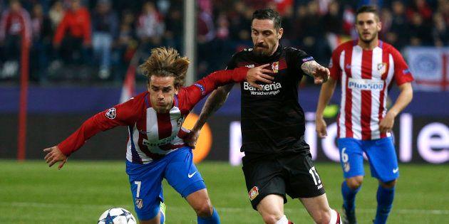 Antoine Griezmann lors de Atlético Madrid-Bayer Leverkusen le 15 mars