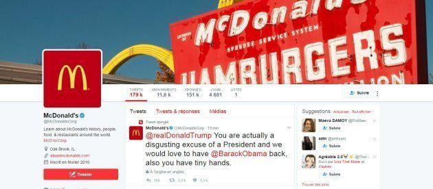 Piraté, un compte de McDonald's se moque de Donald Trump et de ses