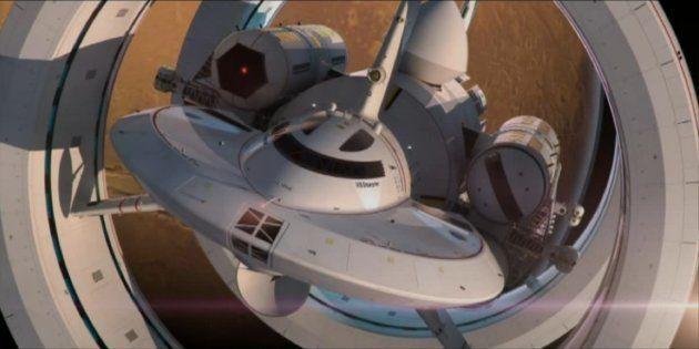 L'IXS Enterprise, un concept de vaisseau spatial voyageant plus vite que la lumière imaginé par Harold...