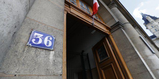 L'entrée de la direction régionale de la police judiciaire de Paris, au 36, quai des Orfèvres à